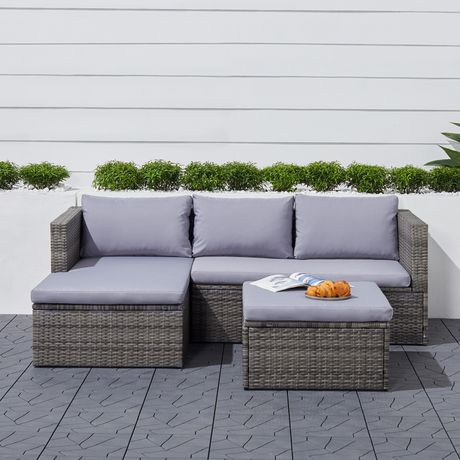 Vifah Daytona 3-Piece Vintage Outdoor Cushioned Wicker Corner Sofa In Light Grey With Footstool Light Grey 53 X 64