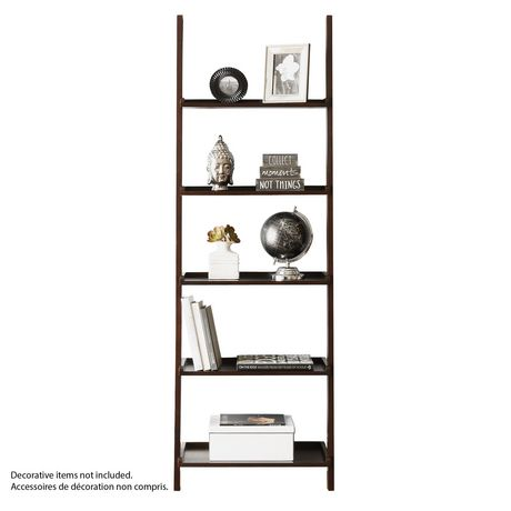 hometrends 5 tier solid wood espresso leaning bookcase. Black Bedroom Furniture Sets. Home Design Ideas