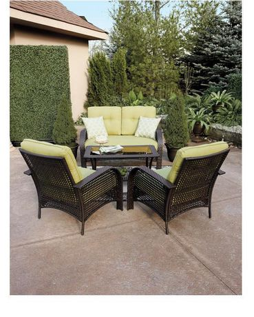 fr ip mobilier de jardin sienna  pices en osier rsineux avec coussins verts