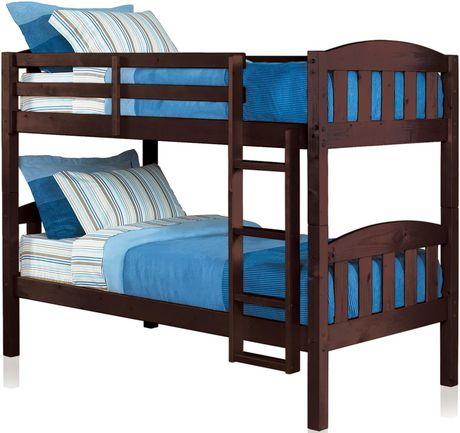 Mainstays Twin Twin Wood Bunk Bed Espresso Walmart Ca