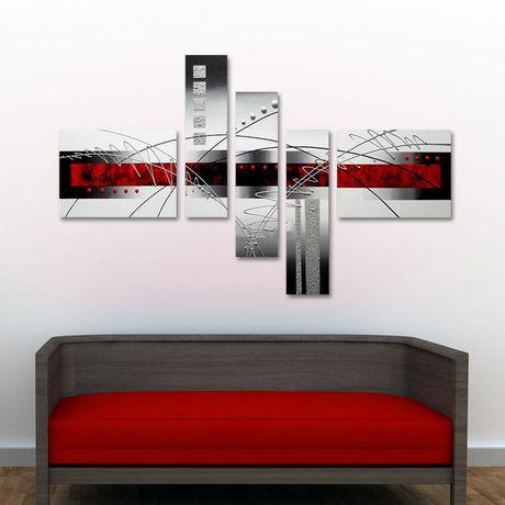 Design art rouge et blanc peinture sur toile textur e for Deco maison walmart