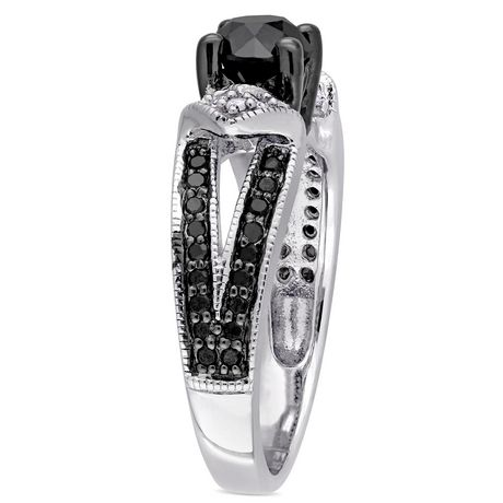 1 carat t w black and white sterling silver