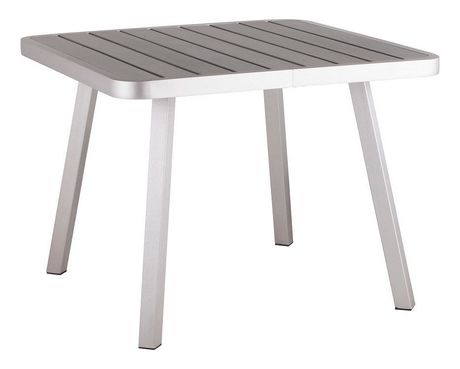 Table carr e manger d 39 ext rieur 1 pi ce en faux bois et for Table exterieur walmart