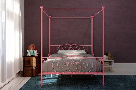 lit baldaquin en rose lit simple de dhp. Black Bedroom Furniture Sets. Home Design Ideas