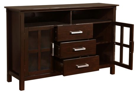 waterloo 53 inches wide x 35 inches high tall tv stand in dark walnut brown. Black Bedroom Furniture Sets. Home Design Ideas