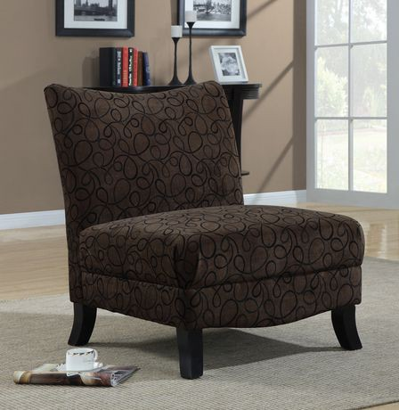 Monarch Specialities Brown Swirl Fabric Accent Chair