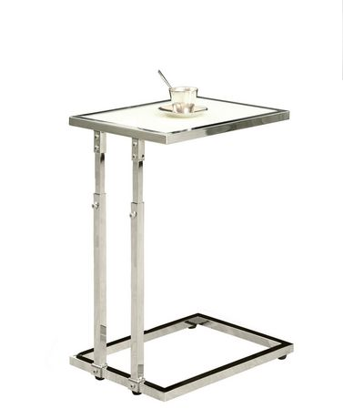 Table d 39 appoint monarch hauteur ajustable m tal chrom tremp walm - Table basse ajustable hauteur ...