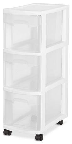 caisson 3 tiroirs troits de sterilite en blanc. Black Bedroom Furniture Sets. Home Design Ideas