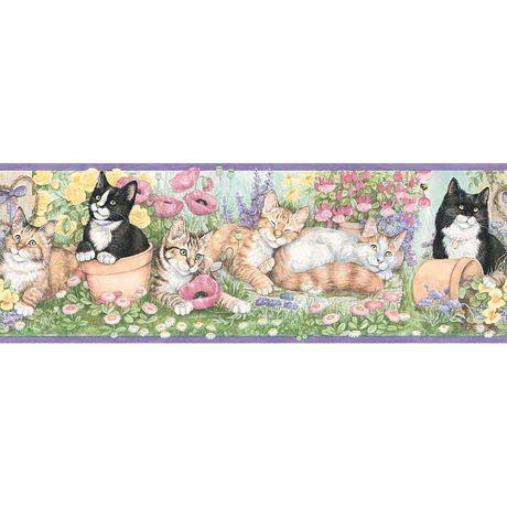 gardening kittens border pink purple wallpaper
