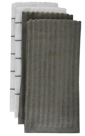 mainstays kitchen towels-4 pack grey | walmart.ca