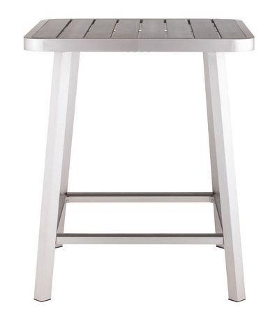 Table de bar 1 pi ce en faux bois et aluminium bross pour for Table exterieur walmart