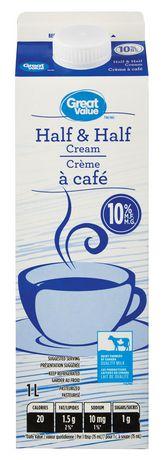 Great Value Half & Half Cream | Walmart.ca