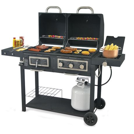 backyard grill 3 burner gas and charcoal grill bbq gbc1690w c