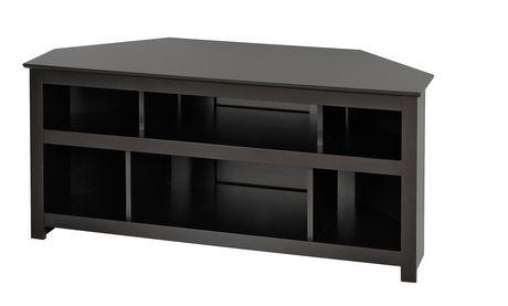 Console d 39 angle vasari pour cran plat plasma lcd en noir for Meuble d angle noir
