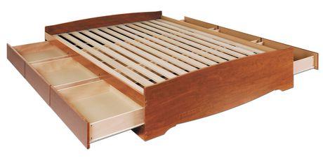 prepac base de lit plateforme avec 6 tiroirs de rangement double. Black Bedroom Furniture Sets. Home Design Ideas