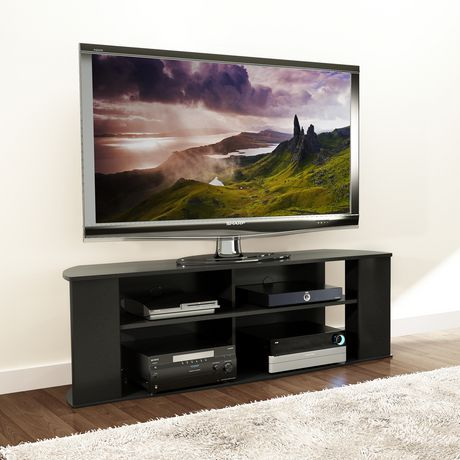 prepac essentials 60 inch black tv stand. Black Bedroom Furniture Sets. Home Design Ideas