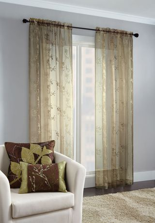 Embroidered Floral Sheer Window Panel
