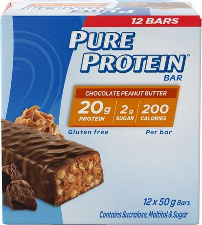 barres prot in es au chocolat et beurre d 39 arachide sans gluten de pure protein format. Black Bedroom Furniture Sets. Home Design Ideas