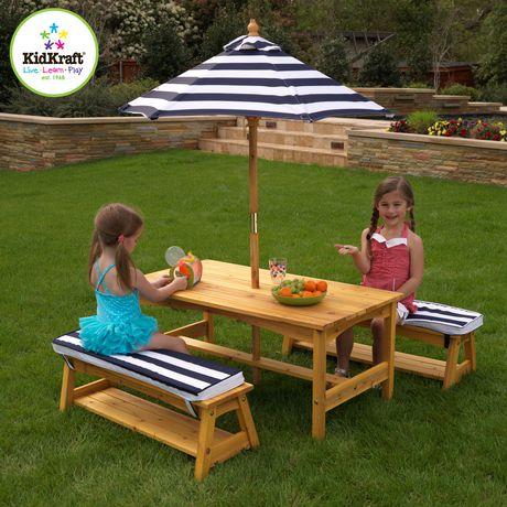 Ensemble table et banc de jardin avec coussins et parasol - Table de jardin avec parasol ...