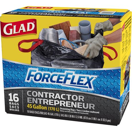 Glad 174 Forceflex 174 Tie N Toss 174 Contractor Garbage Bags