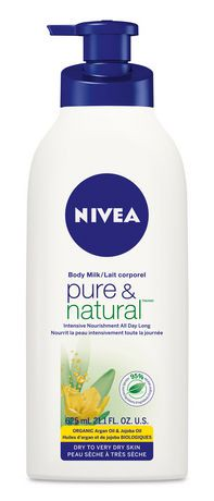 nivea lait pour le corps pure natural pour peaux s ches tr s s ches l 39 huile d 39 argan. Black Bedroom Furniture Sets. Home Design Ideas