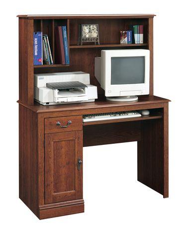 sauder bureau d ordinateur avec surmeuble finition lambriss e merisier 101736. Black Bedroom Furniture Sets. Home Design Ideas