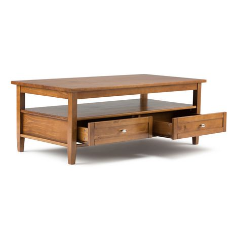 Wyndenhall norfolk wide honey brown coffee table for Coffee tables 30cm wide