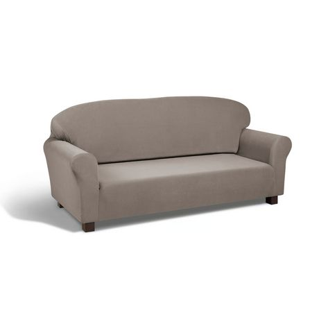 Housse extensible en velours couleur colombe for Housse sofa walmart