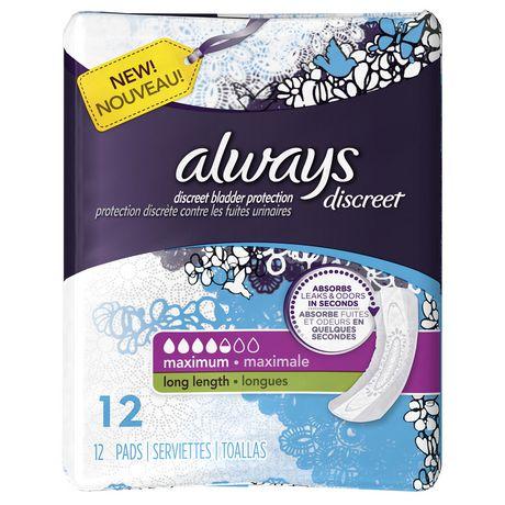 always discreet incontinence maximum length bkxuwfi