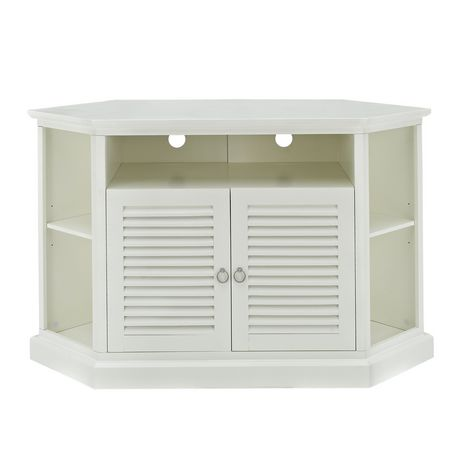 white wood corner tv stand with louvered doors. Black Bedroom Furniture Sets. Home Design Ideas