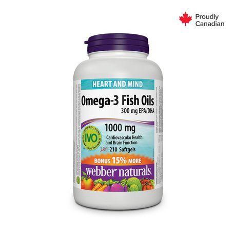 Webber naturals omega 3 fish oils 1000 mg softgels for Omega 3 fish oil walmart