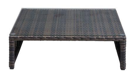 Table ottomane 1 pi ce en osier synth tique pour ext rieur for Table exterieur osier