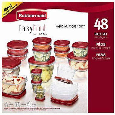 Rubbermaid 48 Piece Easy Find Lids Food Storage Set