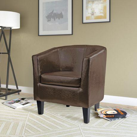 Corliving Antonio Dark Brown Bonded Leather Tub Chair