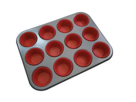 moule muffin la p tisserie avec 12 moules en silicone. Black Bedroom Furniture Sets. Home Design Ideas