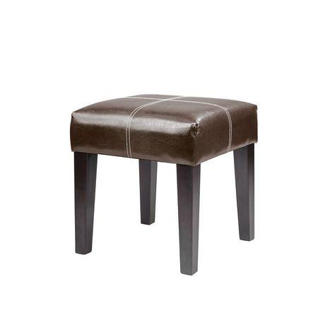 banc antonio corliving 16po carr en cuir reconstitu brun fonc. Black Bedroom Furniture Sets. Home Design Ideas