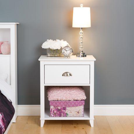 table de chevet haute 1 tiroir yaletown de prepac en fini blanc walmart canada. Black Bedroom Furniture Sets. Home Design Ideas