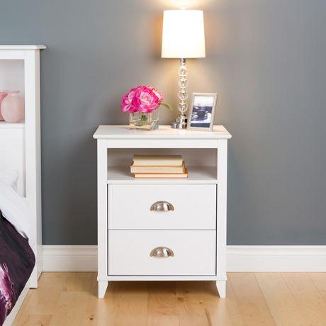 table de chevet haute 2 tiroirs yaletown de prepac fini blanc walmart canada. Black Bedroom Furniture Sets. Home Design Ideas