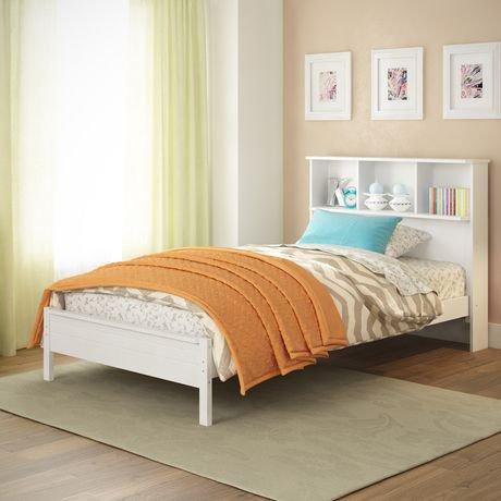 corliving lit avec t te de lit biblioth que ashland. Black Bedroom Furniture Sets. Home Design Ideas