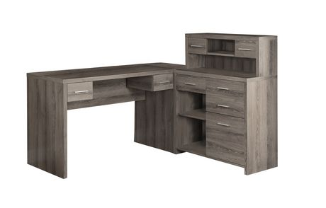 bureau en forme de style l monarch specialties en vieux bois en taupe fonc. Black Bedroom Furniture Sets. Home Design Ideas