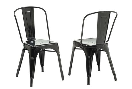 Monarch Specialities Black Glossy Metal Cafe Chair