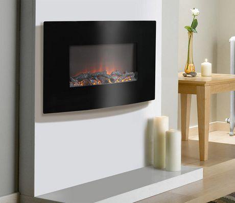 Foyer lectrique mural 35 po large de couleur noire for Meuble leon foyer electrique