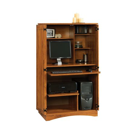 Armoire d ordinateur oak de sauder abbey for Meuble armoire informatique