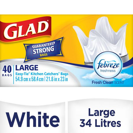 Glad Easy-Tie Kitchen Catchers Garbage Bags- Large White