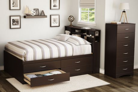 south shore t te de lit biblioth que collection soho double chocolat. Black Bedroom Furniture Sets. Home Design Ideas
