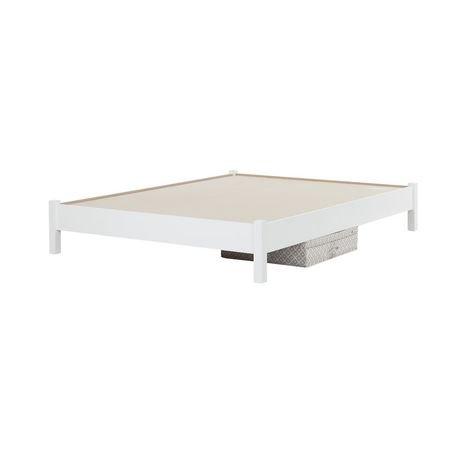 lit plateforme tr s grand avec bo te de rangement en toile sous le lit soho de south shore. Black Bedroom Furniture Sets. Home Design Ideas