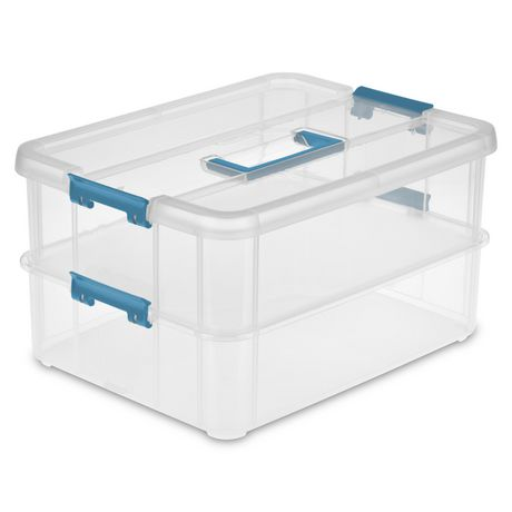 Sterilite Stack And Carry 2 Layer Clear Handle Box And