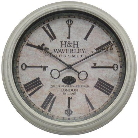 Hometrends horloge murale blanche cl s for Decoration murale walmart