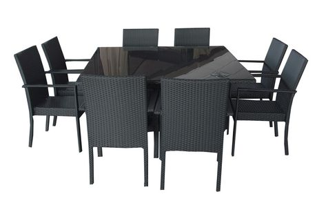 Henryka 9 piece dining patio set with cushions black for Ensemble patio liquidation