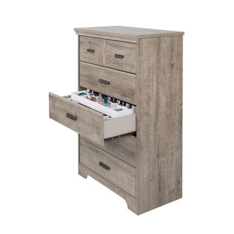 commode 5 tiroirs avec organisateurs de bijoux en ch ne vieilli versa de meubles south shore. Black Bedroom Furniture Sets. Home Design Ideas